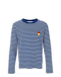 Camiseta de manga larga de rayas horizontales en azul marino y blanco de AMI Alexandre Mattiussi