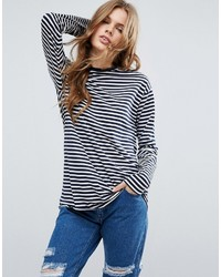 Camiseta de manga larga de rayas horizontales en azul marino y blanco de Asos