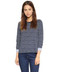 Camiseta de manga larga de rayas horizontales en azul marino y blanco de Clu