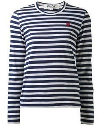 Camiseta de manga larga de rayas horizontales en azul marino y blanco de Comme des Garcons