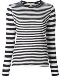 Camiseta de manga larga de rayas horizontales en azul marino y blanco de MICHAEL Michael Kors