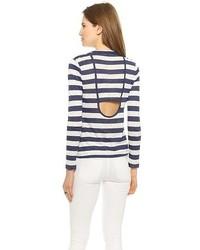 Camiseta de manga larga de rayas horizontales en blanco y azul marino de A.L.C.