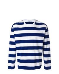 Camiseta de manga larga de rayas horizontales en blanco y azul marino de AMI Alexandre Mattiussi