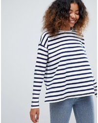 Camiseta de manga larga de rayas horizontales en blanco y azul marino de ASOS DESIGN