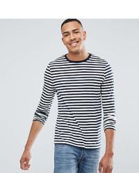 Camiseta de manga larga de rayas horizontales en blanco y azul marino de Asos