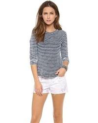 Camiseta de manga larga de rayas horizontales en blanco y azul marino de BB Dakota