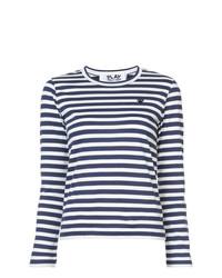Camiseta de manga larga de rayas horizontales en blanco y azul marino de Comme Des Garcons Play