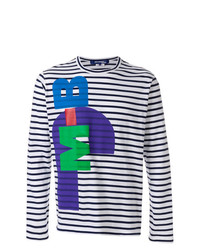 Camiseta de manga larga de rayas horizontales en blanco y azul marino de Junya Watanabe MAN