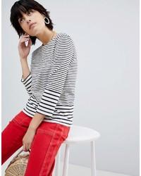Camiseta de manga larga de rayas horizontales en blanco y azul marino de Warehouse