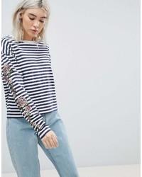 Camiseta de manga larga de rayas horizontales en blanco y azul de Asos
