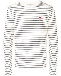 Camiseta de manga larga de rayas horizontales en blanco y negro de Ami Paris