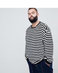 Camiseta de manga larga de rayas horizontales en blanco y negro de ASOS DESIGN