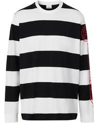 Camiseta de manga larga de rayas horizontales en blanco y negro de Burberry
