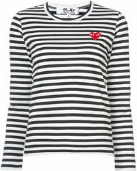 Camiseta de manga larga de rayas horizontales en blanco y negro de Comme des Garcons