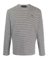 Camiseta de manga larga de rayas horizontales en blanco y negro de DSQUARED2