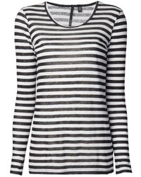 Camiseta de manga larga de rayas horizontales en blanco y negro de Joe's Jeans