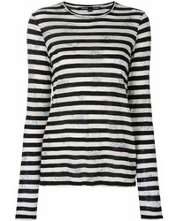 Camiseta de manga larga de rayas horizontales en blanco y negro de Proenza Schouler