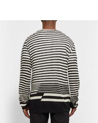 Camiseta de manga larga de rayas horizontales en blanco y negro de Haider Ackermann