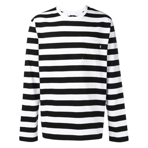 Camiseta de manga larga de rayas horizontales en blanco y negro de Stussy