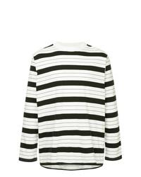 Camiseta de manga larga de rayas horizontales en blanco y negro de Unused