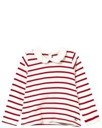 Camiseta de manga larga de rayas horizontales en blanco y rojo
