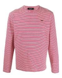 Camiseta de manga larga de rayas horizontales en blanco y rojo de DSQUARED2