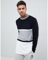 Camiseta de manga larga de rayas horizontales en negro y blanco de ASOS DESIGN