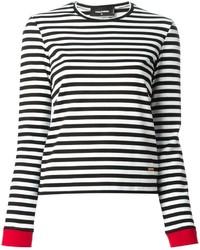 Camiseta de manga larga de rayas horizontales en negro y blanco de Dsquared2