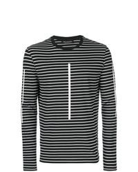 Camiseta de manga larga de rayas horizontales en negro y blanco de Neil Barrett
