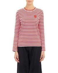 Camiseta de manga larga de rayas horizontales en rojo y blanco
