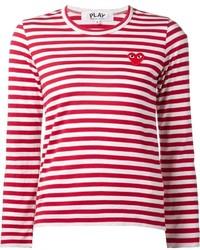 Camiseta de manga larga de rayas horizontales en rojo y blanco de Comme des Garcons