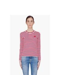 Camiseta de manga larga de rayas horizontales en rojo y blanco de Comme Des Garons Play