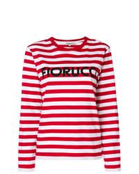 Camiseta de manga larga de rayas horizontales en rojo y blanco de Fiorucci