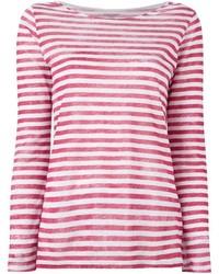 Camiseta de manga larga de rayas horizontales en rojo y blanco de Majestic Filatures