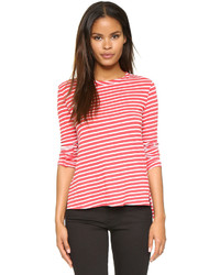 Camiseta de manga larga de rayas horizontales en rojo y blanco de Pam & Gela