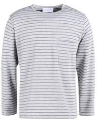 Camiseta de manga larga de rayas horizontales gris