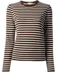 Camiseta de manga larga de rayas horizontales marrón de Michael Kors