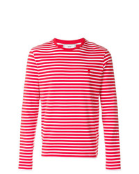 Camiseta de manga larga de rayas horizontales roja de AMI Alexandre Mattiussi