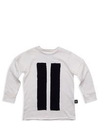 Camiseta de manga larga de rayas verticales blanca