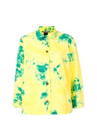 Camiseta de manga larga efecto teñido anudado amarilla