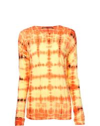 Camiseta de manga larga efecto teñido anudado amarilla de Proenza Schouler