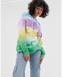 Camiseta de manga larga efecto teñido anudado en multicolor de ASOS DESIGN