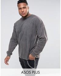 Camiseta de manga larga en gris oscuro de Asos