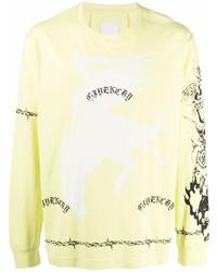 Camiseta de manga larga estampada amarilla de Givenchy