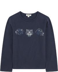 Camiseta de manga larga estampada azul marino
