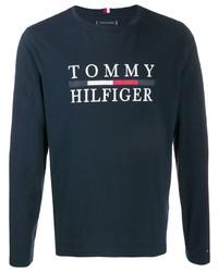 Camiseta de manga larga estampada azul marino de Tommy Hilfiger