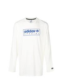 Camiseta de manga larga estampada blanca de adidas