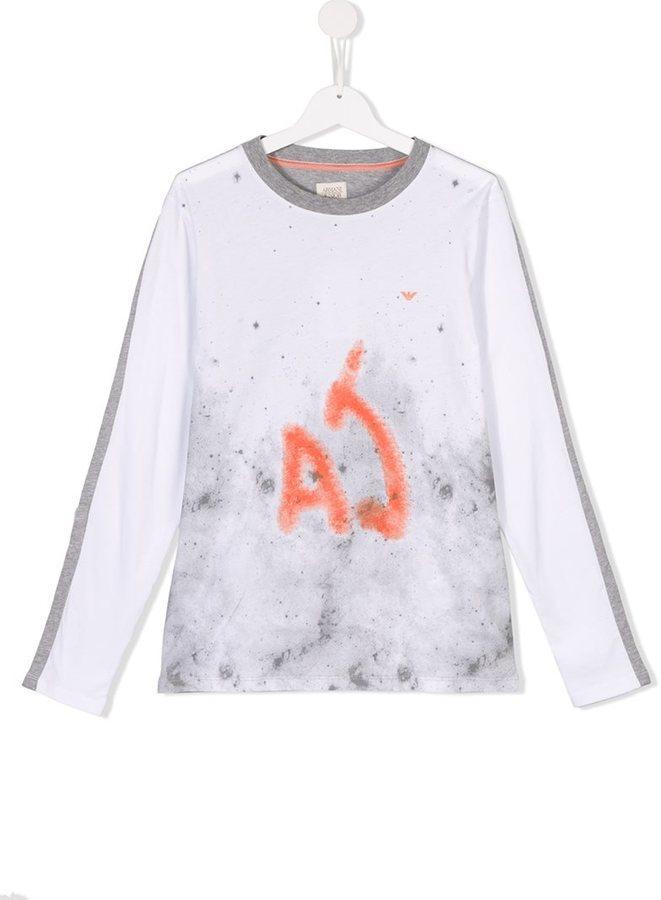 Camiseta de manga larga estampada blanca de Armani Junior