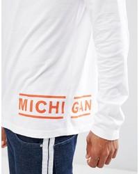 Camiseta de manga larga estampada blanca de Asos
