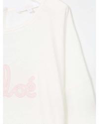 Camiseta de manga larga estampada blanca